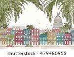 havana  cuba   hand drawn... | Shutterstock .eps vector #479480953