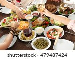 friends eating and drinking... | Shutterstock . vector #479487424