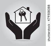 key lock and home in hand icon  ... | Shutterstock .eps vector #479508388