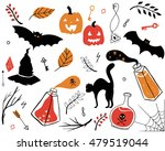 hand drawn set of spooky... | Shutterstock .eps vector #479519044