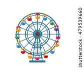 Ferris Wheel Icon In Cartoon...
