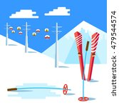 flat skis and ski poles... | Shutterstock .eps vector #479544574