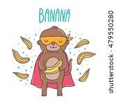 Cute Cartoon Superhero Monkey...