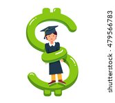 graduate student girl in mortar ... | Shutterstock .eps vector #479566783