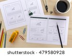designer desk with website... | Shutterstock . vector #479580928