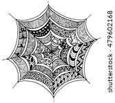 hand drawn spider's web  in...
