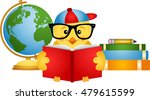 chick reading book with globe  | Shutterstock .eps vector #479615599