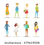 set of students with gadgets... | Shutterstock .eps vector #479619058