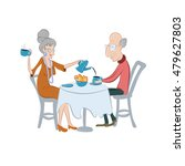 lovely old couple drinking... | Shutterstock .eps vector #479627803