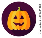 jack lantern circle icon. flat... | Shutterstock .eps vector #479649184