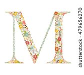 m letter with decorative floral ... | Shutterstock .eps vector #479656270