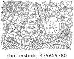 floral doodle pattern in black... | Shutterstock .eps vector #479659780