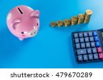 top view piggy bank  calculator ... | Shutterstock . vector #479670289