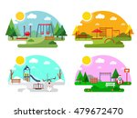 outdoor playground. flat style... | Shutterstock .eps vector #479672470