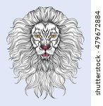 hand drawn lion head in line... | Shutterstock .eps vector #479672884