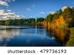 Forest Lake In Autumn Colorful...