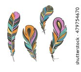 set of colorful birds feathers... | Shutterstock .eps vector #479754670