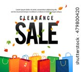 sale poster with paper shopping ... | Shutterstock .eps vector #479800420