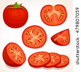 set of different tomatoes... | Shutterstock .eps vector #479807059