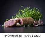 sliced salami with thyme and... | Shutterstock . vector #479811220