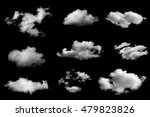 Set of isolated clouds on black