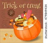 jack o lantern candy basket... | Shutterstock .eps vector #479849434