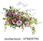 bouquet with maroon flowers and ... | Shutterstock . vector #479859790