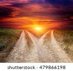 scene with fork roads in steppe ... | Shutterstock . vector #479866198