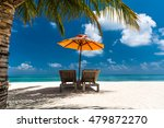 loungers and umbrella on... | Shutterstock . vector #479872270