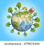 planet earth with drawn... | Shutterstock . vector #479875444