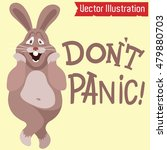 a cartoon rabbit with a scared... | Shutterstock .eps vector #479880703
