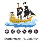 pirate sailing ship with... | Shutterstock .eps vector #479880754