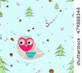 owl with animals seamless