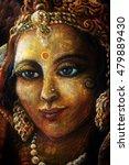 head of radha with golden... | Shutterstock . vector #479889430