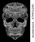 Puff Print Skull Lace Ornament