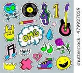 music cartoon patch badges ... | Shutterstock .eps vector #479927029