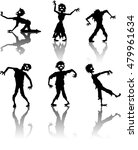 zombie silhouette collection set | Shutterstock . vector #479961634
