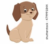 Stock vector vector illustration of a brown cute puppy for design element 479991844