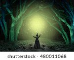 magical witch casting a magic... | Shutterstock . vector #480011068