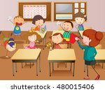 teacher and students at school... | Shutterstock .eps vector #480015406