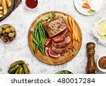 rare steak with vegetable... | Shutterstock . vector #480017284