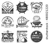 black seafood emblem set with... | Shutterstock .eps vector #480021220