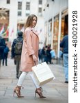 beautiful girl with shopping... | Shutterstock . vector #480021928