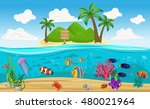 colored underwater world island ... | Shutterstock .eps vector #480021964