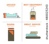 bath and sauna   set of cards | Shutterstock .eps vector #480025243