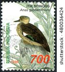 Small photo of INDONESIA - CIRCA 1998: Postage stamp printed in Indonesia shows the Sunda teal (Anas gibberifrons), circa 1998