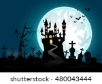 halloween background with... | Shutterstock .eps vector #480043444