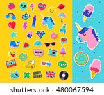 pop art fashion chic patches ... | Shutterstock .eps vector #480067594