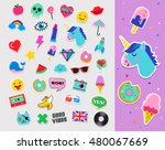 pop art fashion chic patches ... | Shutterstock .eps vector #480067669