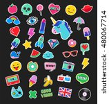 pop art fashion chic patches ... | Shutterstock .eps vector #480067714